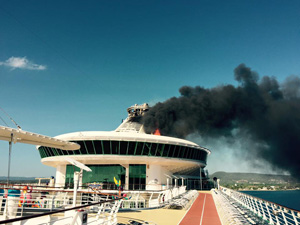 cruise ship funnel fire