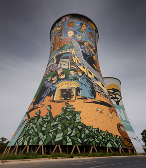decorated cooling towers in Soweto